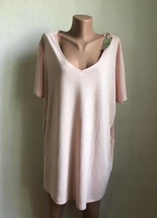 Летняя футболка цвет пудра натуральная ткань {лён вискоза}!