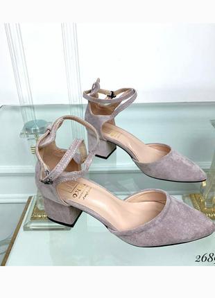 Босоножки с острым носком на устойчивом каблуке , стильные туфли, хит сезона