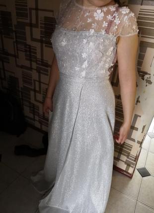 Шикарное серебряное платье. 44 размера.