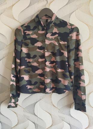 Трендовая рубашка в стиле милитари,вискоза