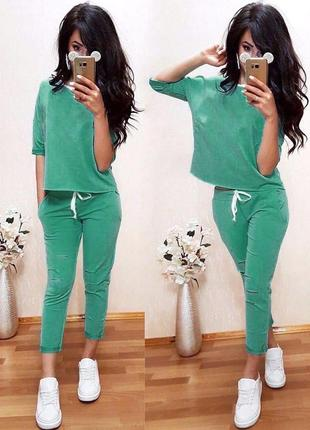 Женский спортивный костюм прогулочный костюм летний стильный трикотажный зеленый