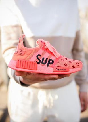 Классные женские кроссовки louis vuitton x supreme x adidas nmd оранжевые
