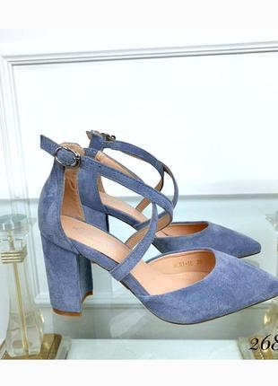 Туфли на широком каблуке с острым носом, стильные женские босоножки, хит сезона