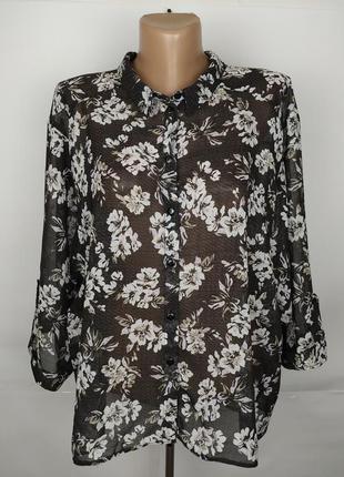 Блуза легкая красивая в цветы большой размер george uk 18/46/xxl