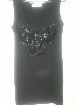 Черное платье туника с бантом