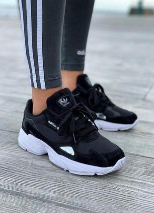 Шикарные женские кроссовки adidas falcone в черном цвете (36-42)