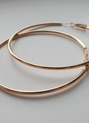 Серьги кольца 6,5 см xuping. позолота 585 проба, 18к, круглые серёжки. медицинское золото