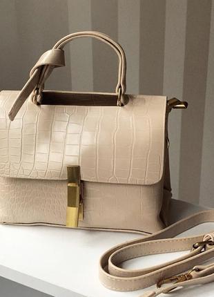 Бежевая сумочка на плечо с длинным ремешком, сумка кроссбоди