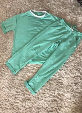 Женский спортивный костюм прогулочный костюм летний стильный трикотажный зеленый2 фото