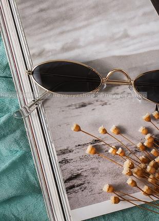 💥распродажа💥солнцезащитные очки черные сонцезахисні окуляри стеклянные узкие овальные7 фото