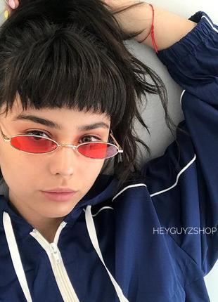 💥распродажа💥солнцезащитные очки красные сонцезахисні окуляри червоні стеклянные узкие овальные8 фото
