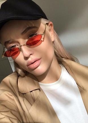 Солнцезащитные очки красные сонцезахисні окуляри червоні стеклянные узкие овальные