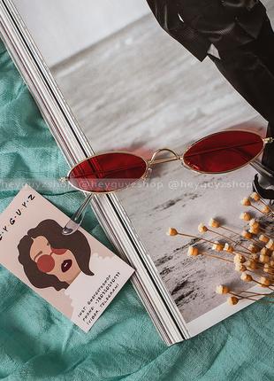 💥распродажа💥солнцезащитные очки красные сонцезахисні окуляри червоні стеклянные узкие овальные5 фото
