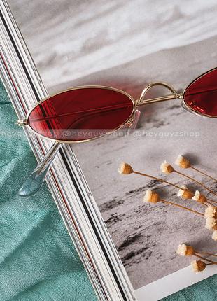💥распродажа💥солнцезащитные очки красные сонцезахисні окуляри червоні стеклянные узкие овальные7 фото