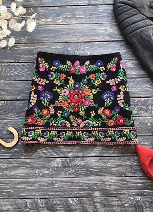 Трендовая юбка zara ,с вышивкой