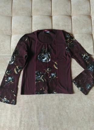Блузка цвета марсала street one, кружевная, размер10