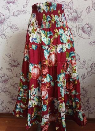 Шикарная юбка макси в пол цветочный принт юбка - сарафан спідниця хлопковая