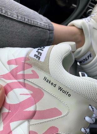 Шикарные женские кроссовки naked wolfe pink logo в белом цвете (36-42)8 фото