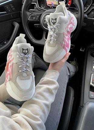 Шикарные женские кроссовки naked wolfe pink logo в белом цвете (36-42)10 фото