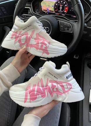 Шикарные женские кроссовки naked wolfe pink logo в белом цвете (36-42)