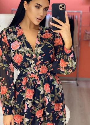 Шикарное нарядное коктейльное платье летнее легкое шифоновое