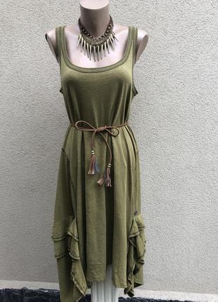 Платье -майка,сарафан с воланами(баской,рюшами) по бокам,didi хлопок,большой размер