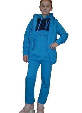 Спотривкий костюм-тройка everast 38 голубой