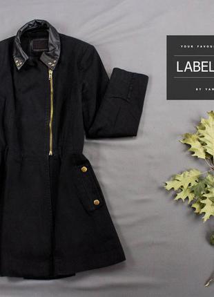 Пальто черное на молнии