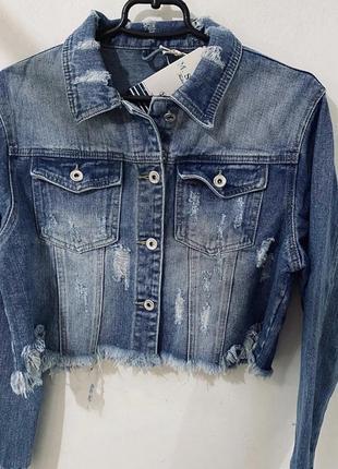 Стильная укорочённая джинсовая куртка ❤️❤️❤️