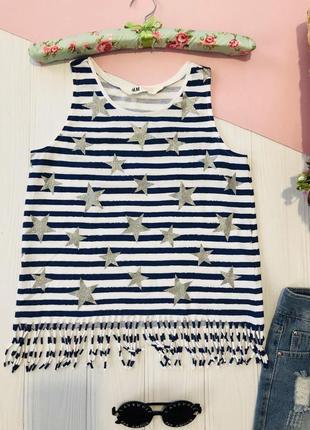 Полосатая майка футболка в морском стиле со звездами h&m
