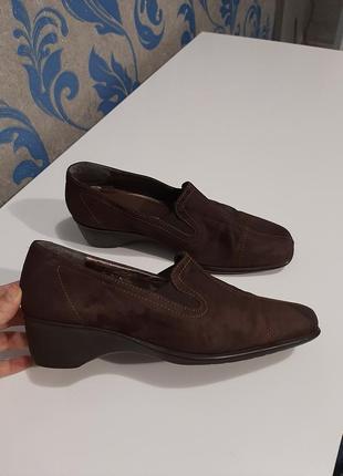 Кожаные,ортопедичнские туфли amber. натуральная замша.