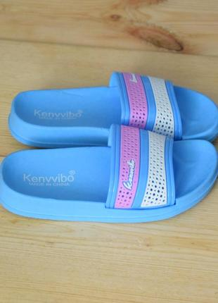 Детские шлепанцы девочкам розово-голубые в бассейн или как пляжные