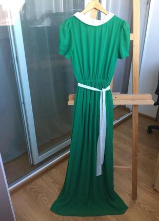 Длинное зеленое платье eve с контрастным воротником, 38 р.