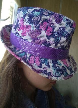 Летняя женская шляпа с полями /шляпка шапочка панама с блёстками и бабочками