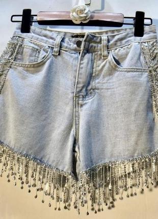 Крутые дизайнерские шорты с кристаллами