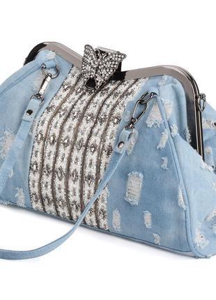 Сумка женская джинсовая со стразами. сумочка модная из денима (голубая)