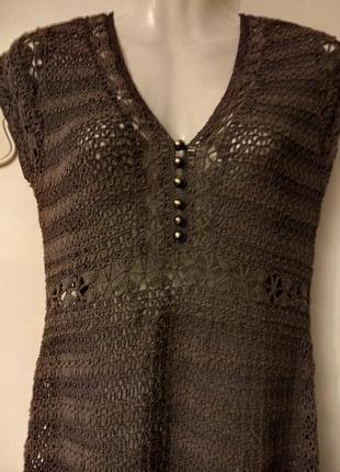 Платье миди летнее сетка крючком вязаное