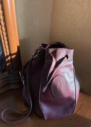 Оригинальная кожаная сумка сartier paris кросс боди