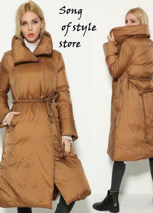 Модное длинное пуховое пальто, пуховик, с декаротивным ремнем