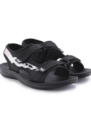 Стильные черные мужские босоножки сандалии на липучках