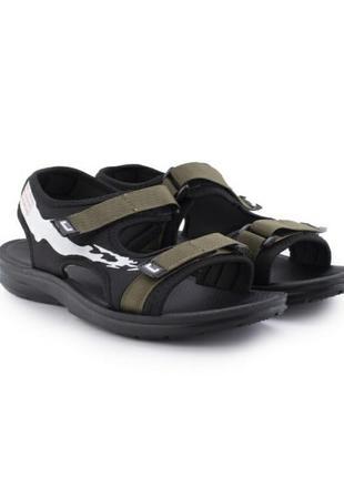 Стильные мужские босоножки сандалии на липучках хаки