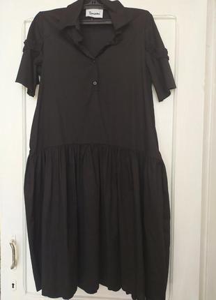 Платье рубашка с интересными акцентами котоновое