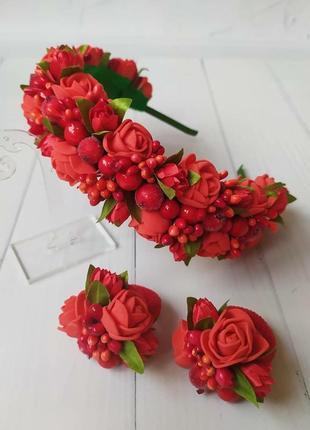 Венок, веночек, обруч, ободок из цветов, ободок ручной работы из фоамирана