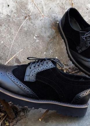 Мужские кожаные замшевые броги туфли натуральная кожа 100% . размеры 40-45