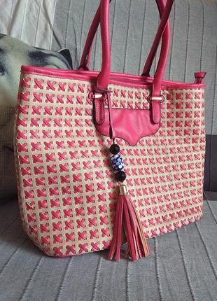 Большая сумка шопер, плетеная