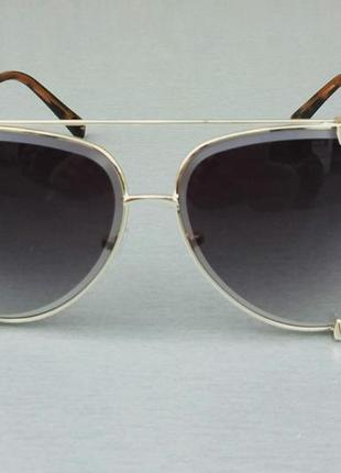 Dita очки капли женские солнцезащитные темно серые с градиентом в золотой  оправе