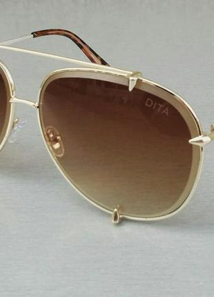 Dita очки капли женские солнцезащитные коричневые с градиентом в золотой оправе