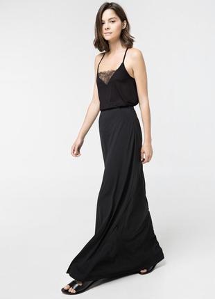 Чёрная макси юбка mango