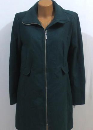 Роскошное изумрудное шерстяное пальто от h&m стройнит размер: 52-xl