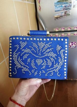 Замшевая сумочка синяя маленькая